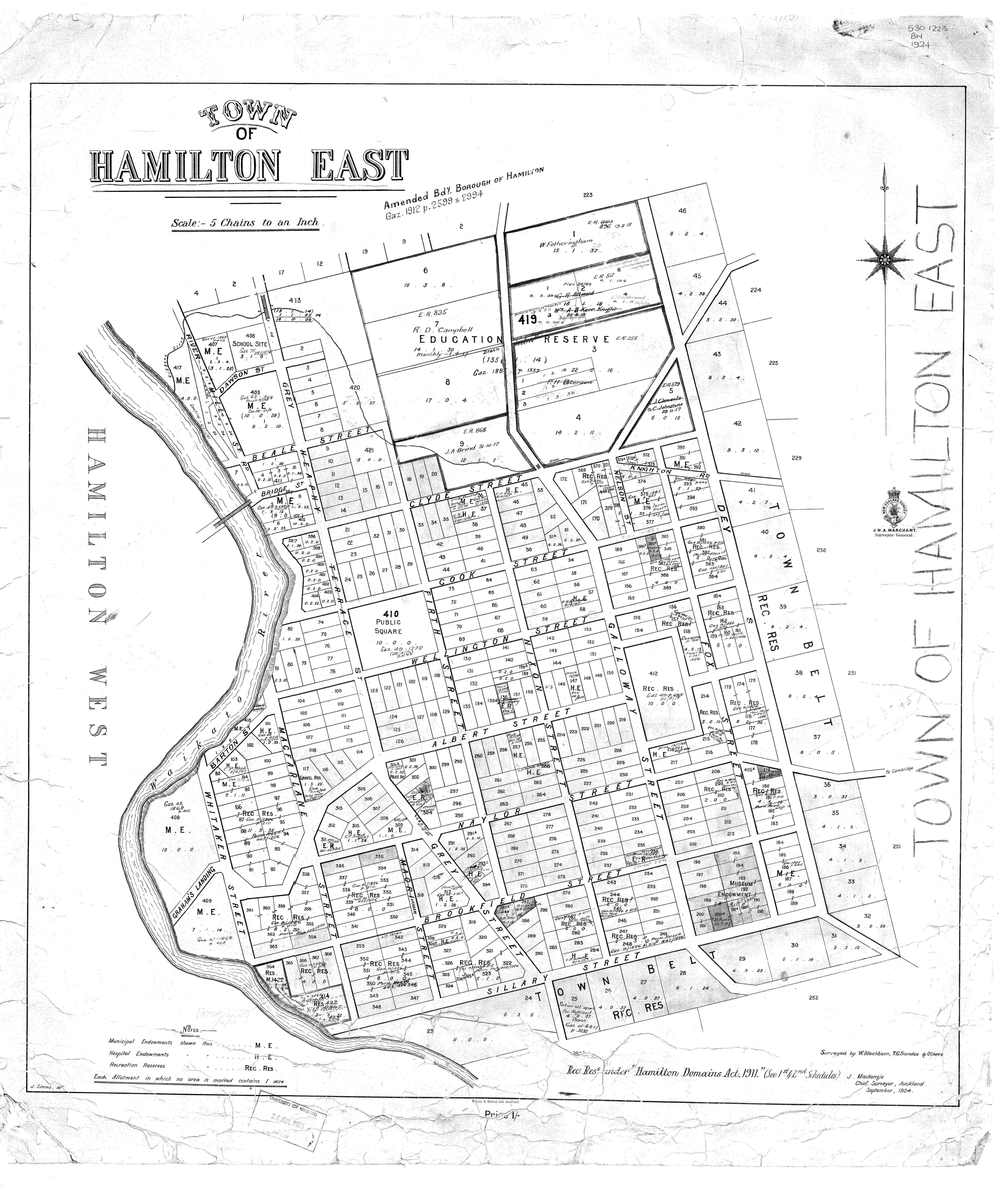 Hamilton East Historic Map