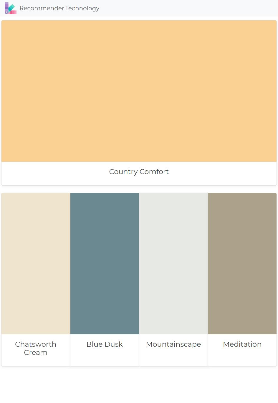 Country Comfort Chatsworth Cream Blue Dusk Mountainscape Meditation Paint Color Palettes