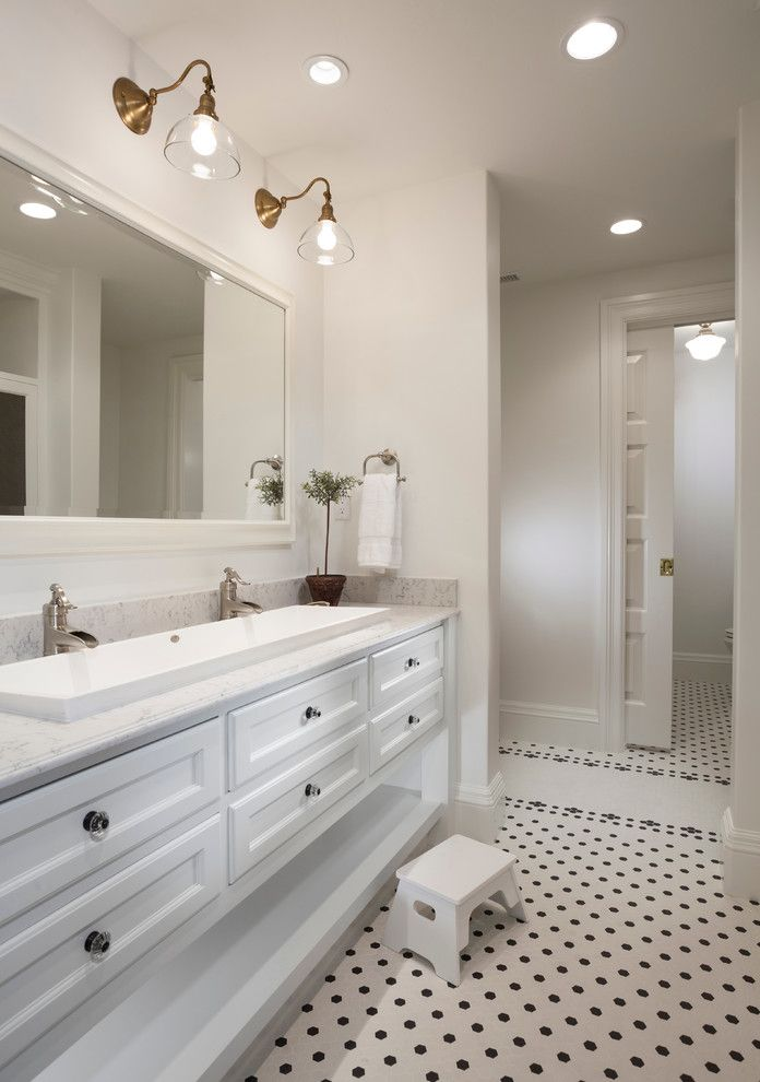 Splashy Trough Sink In Bathroom Traditional With Next To Two Faucet