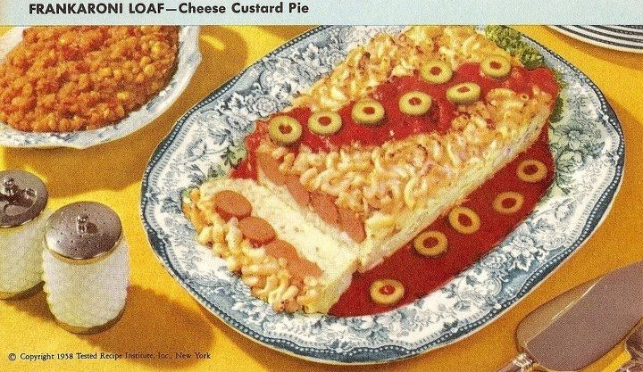 The shadow side of 50's homemaking is revealed in dishes like this one - what does one do with their creative impulse, eh?