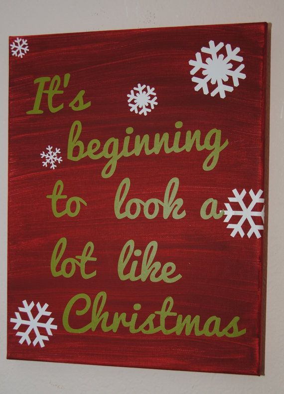 It S Beginning To Look A Lot Like Christmas Custom Canvas Quote Diy Christmas Canvas Christmas Paintings On Canvas Christmas Canvas