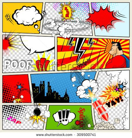 Comics Template Vector Retro Comic Book Speech Bubbles