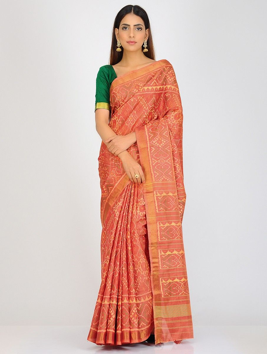0e8fe24c99 Buy Orange Yellow Green Single Ikat Patola Silk Saree with Zari Border  Sarees Woven Online at Jaypore.com