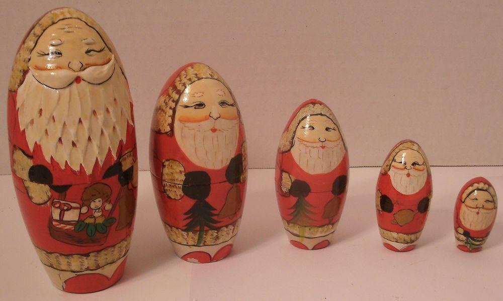 Santa Claus Nesting Doll Christmas Holiday St Nicholas Nick 5 Sizes Bright Color