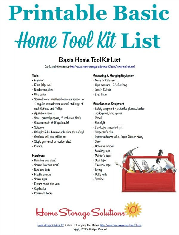 ac0b0c17ee4 Free printable home tool kit list to make sure you have all the essential  tools necessary for basic home repairs and improvements