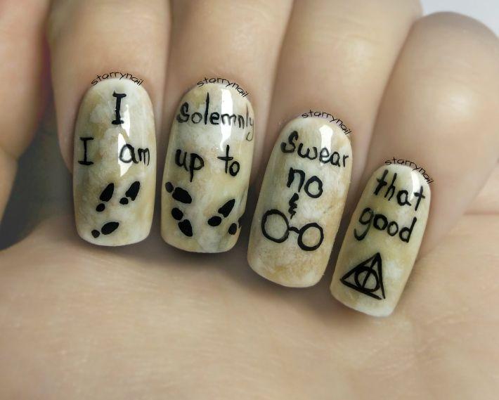 Easy Harry Potter Nails ⎮ Freehand Nail Art Tutorial | Nail art ...