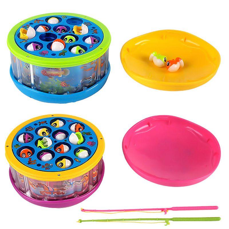 Cute Electric Rotating Fishing Fish Light & Music Educational Toy ...