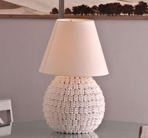 lampada fai da te, abat-jour fai da te, lampada polistirolo, lampada