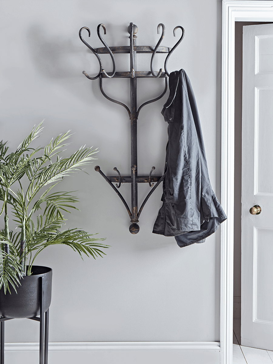 Aged Metal Wall Mounted Coat Rack Wall Mounted Coat Rack Hallway Coat Rack Coat Rack Wall
