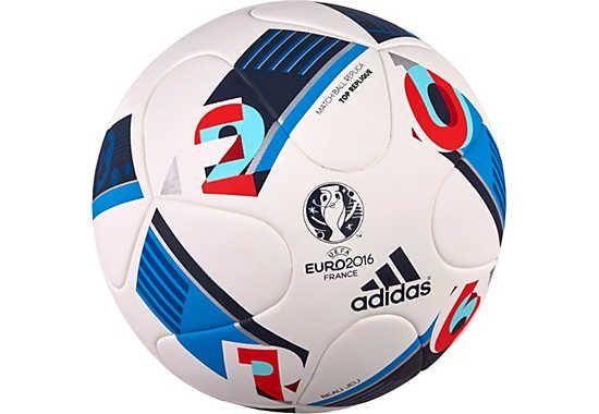 Adidas Euro 16 Top Replique Soccer Ball White Bright Blue Soccerpro Com Soccer Ball Soccer Training Ball Football Ball