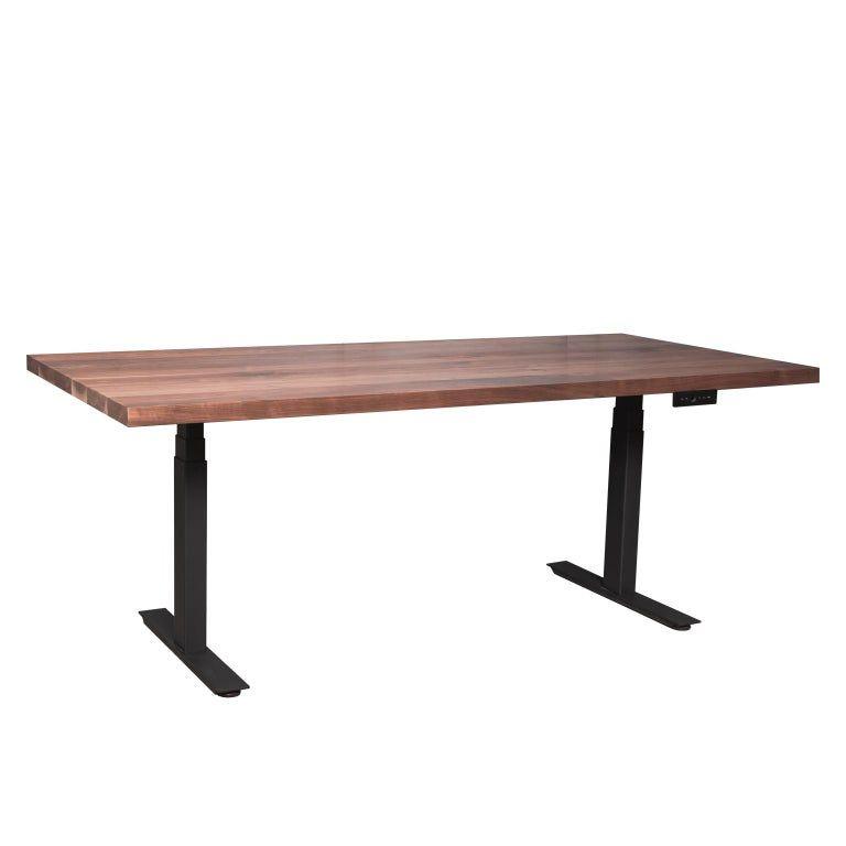 Custom Sit Stand Essentials Desk With Solid Wood Top And Metal Base Small Adjustable Desk Furniture Vintage Desk