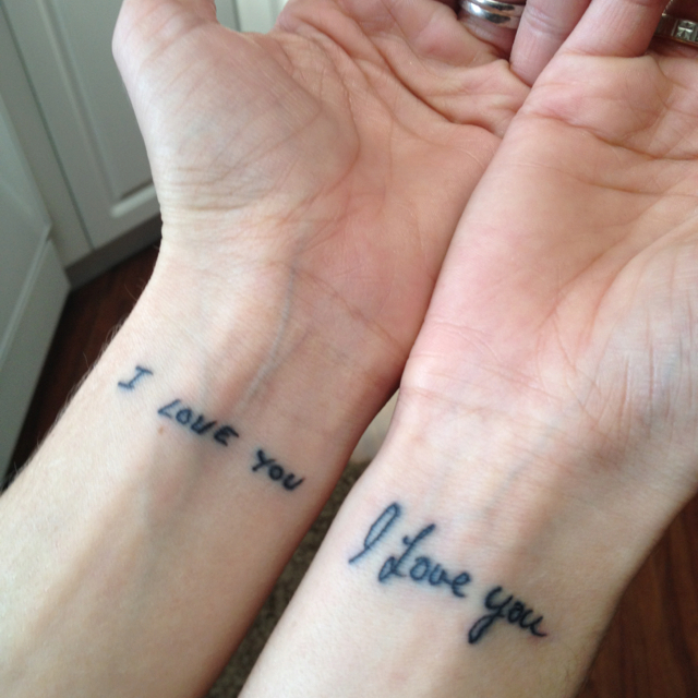Mom and dad tattoo written in their handwriting would for Dad i love you tattoo