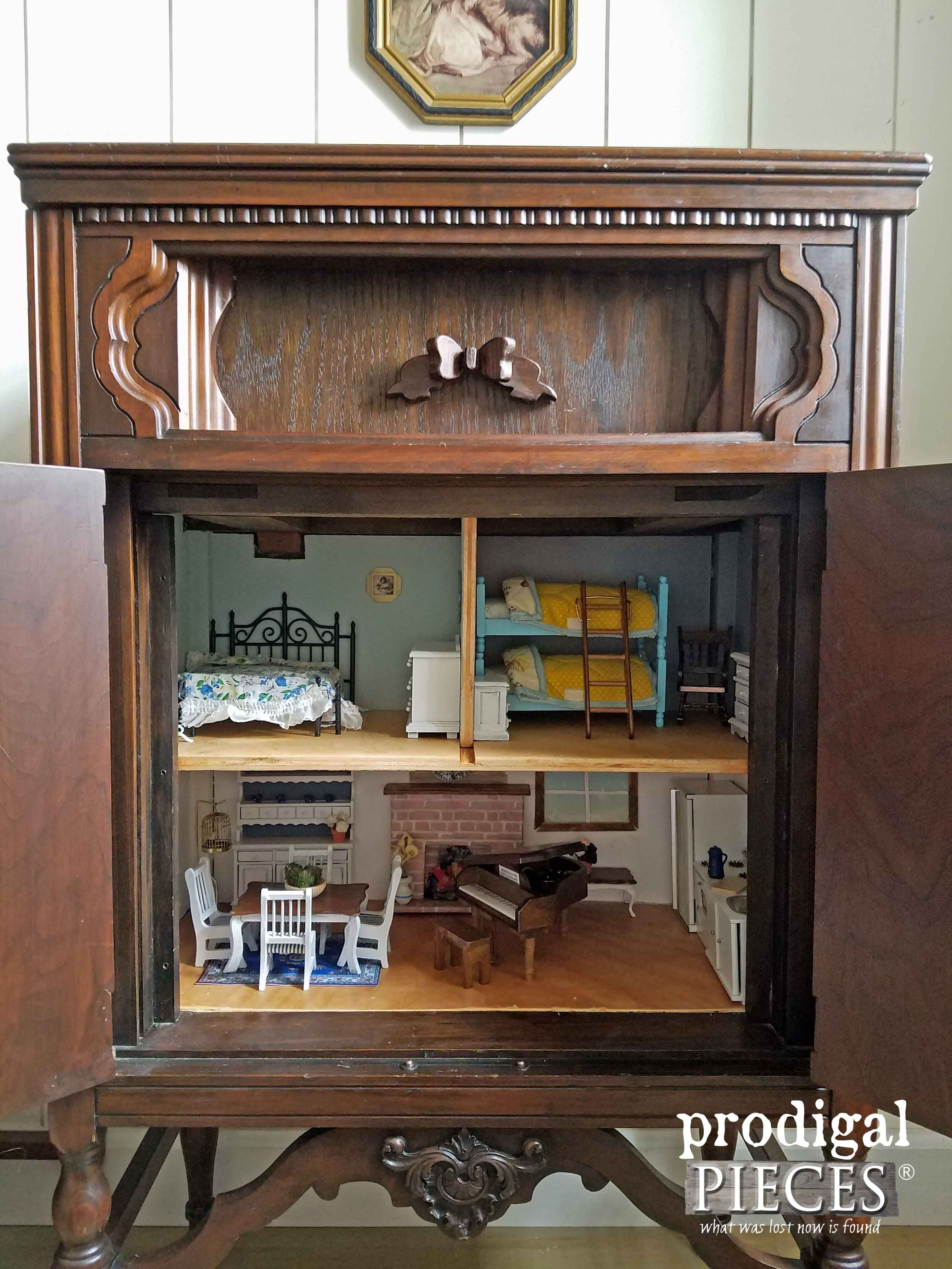 Repurposed Radio Cabinet turned Dollhouse