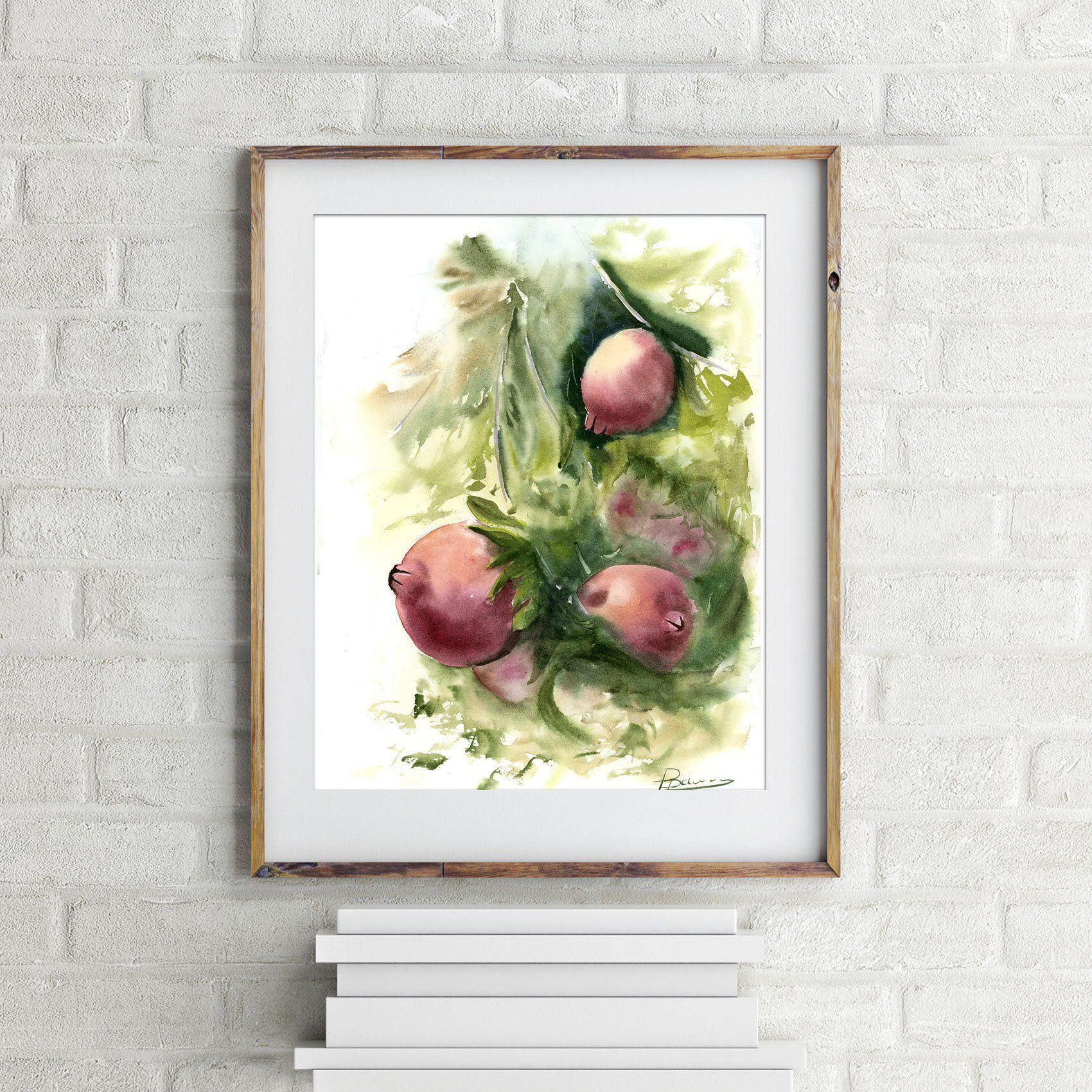Pomegranate art original watercolor painting fruit artwork kitchen