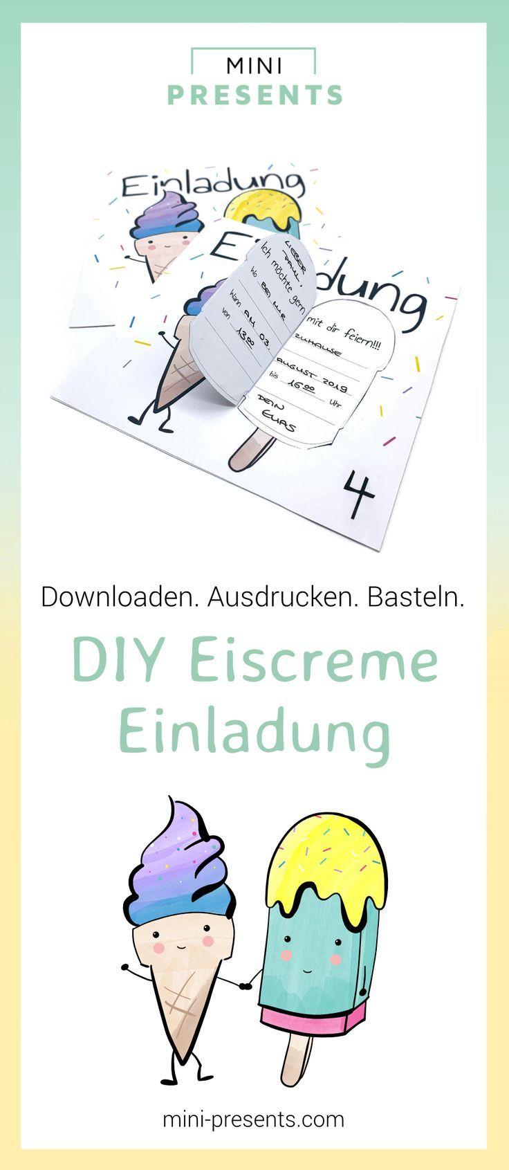 Photo of mini-presents | Eiscreme Einladung für den Kindergeburtstag, Eis Einladungskarte | Geschenkideen & Party Deko zum Ausdrucken und Basteln.