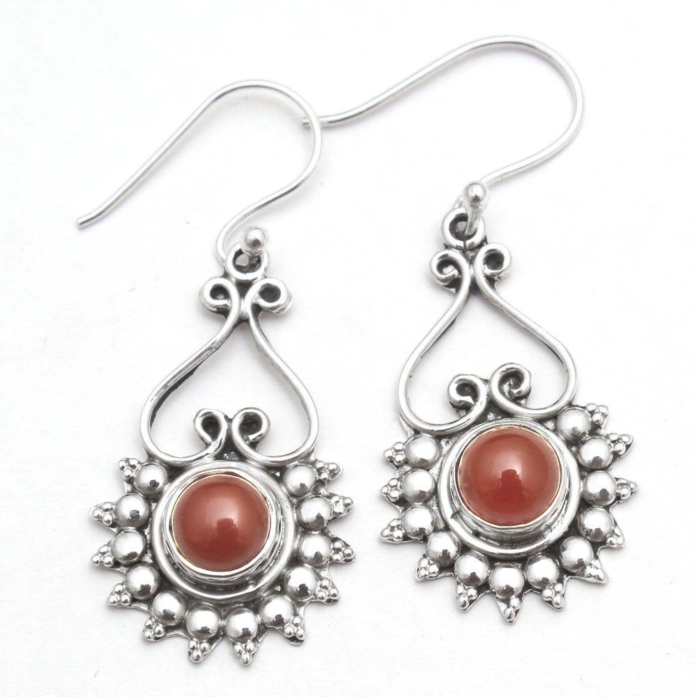 Beautiful Carnelian and Chalcedony Gemstone Dangle Earrings