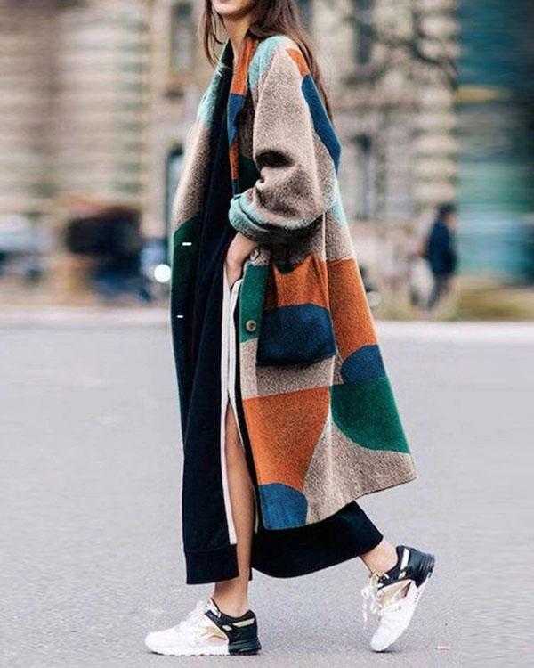 Photo of Fashion Printing long sleeve Lapels Coat