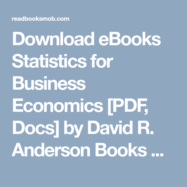 Ebook Statistics For Business And Economics