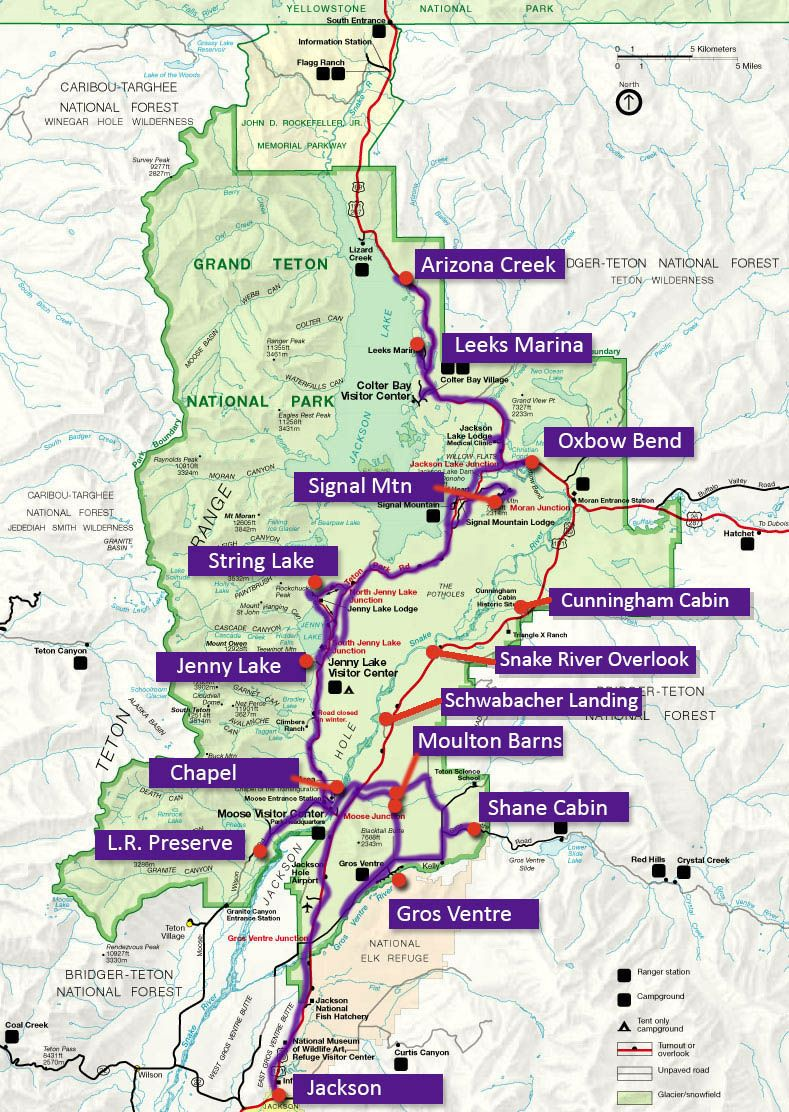 Grand Teton National Park Map 1 Day Map road trip Pinterest
