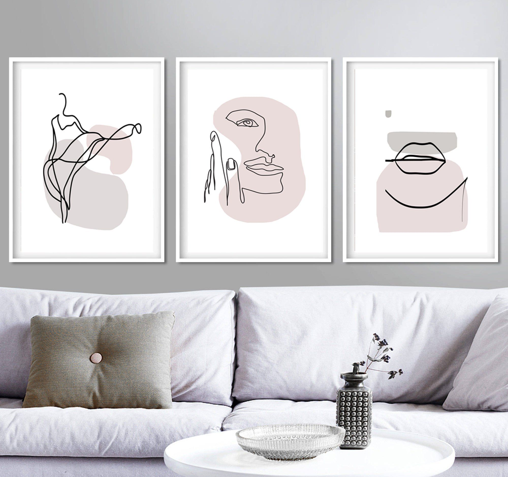 Woman Line Print 3 Piece Wall Art Downloadable Prints Pink Art Etsy Minimalist Art Diy Canvas Art 3 Piece Wall Art #wall #posters #for #living #room