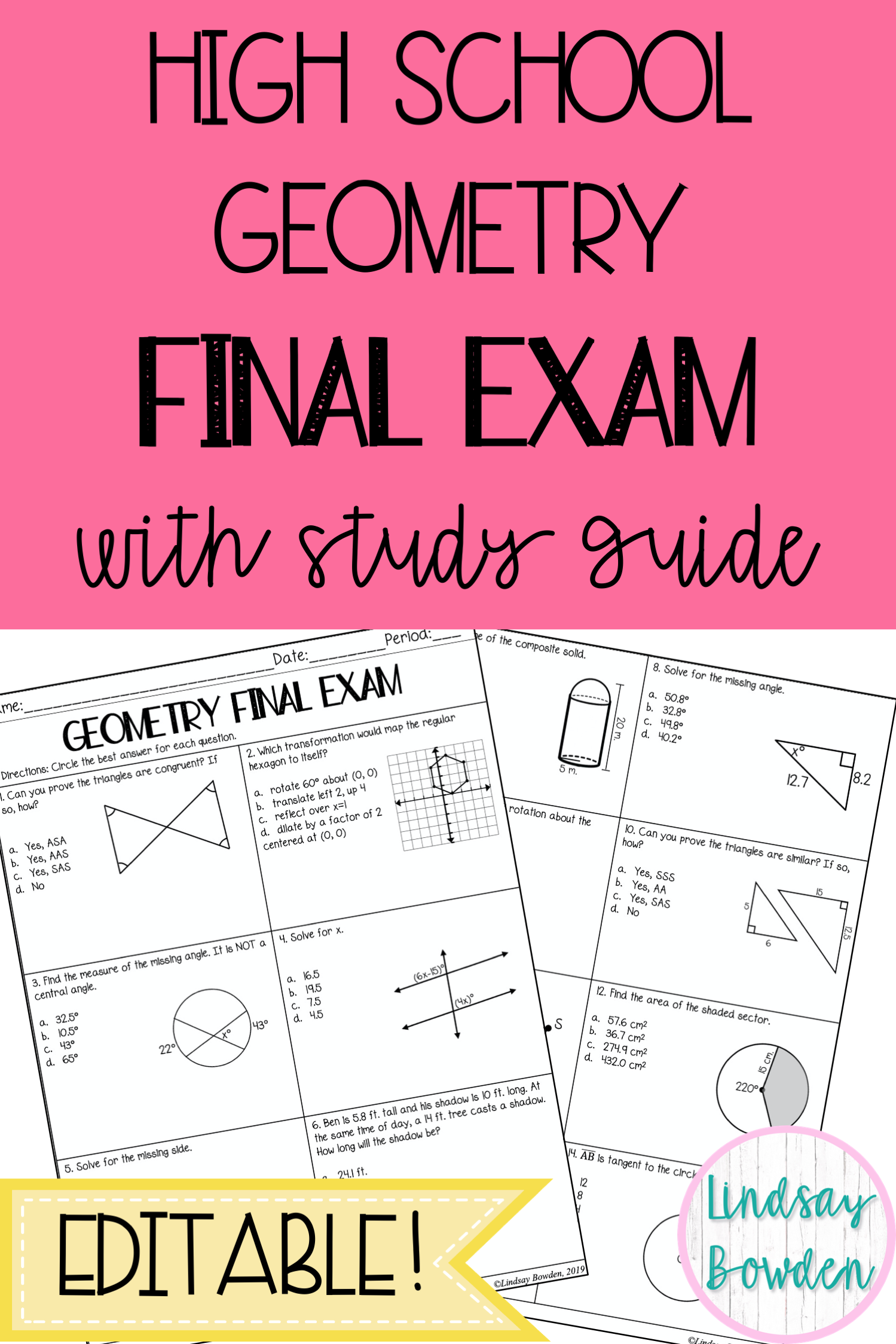 Geometry Final Exam With Study Guide In 2020 Geometry High School Study Guide Final Exams