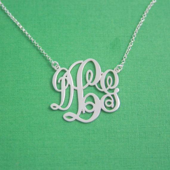 Vine Shaped Monogram Necklace / Monogram Necklace / by AdiJewelry