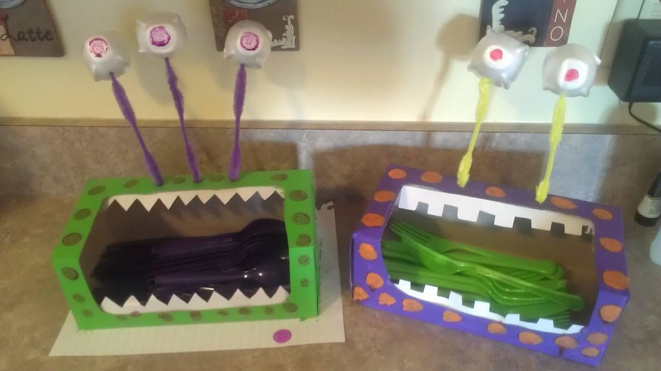 Monster party made from tissue boxes