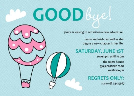 Going Away Party Ideas Going Away Party Pinterest – Goodbye Party Invitation Wording