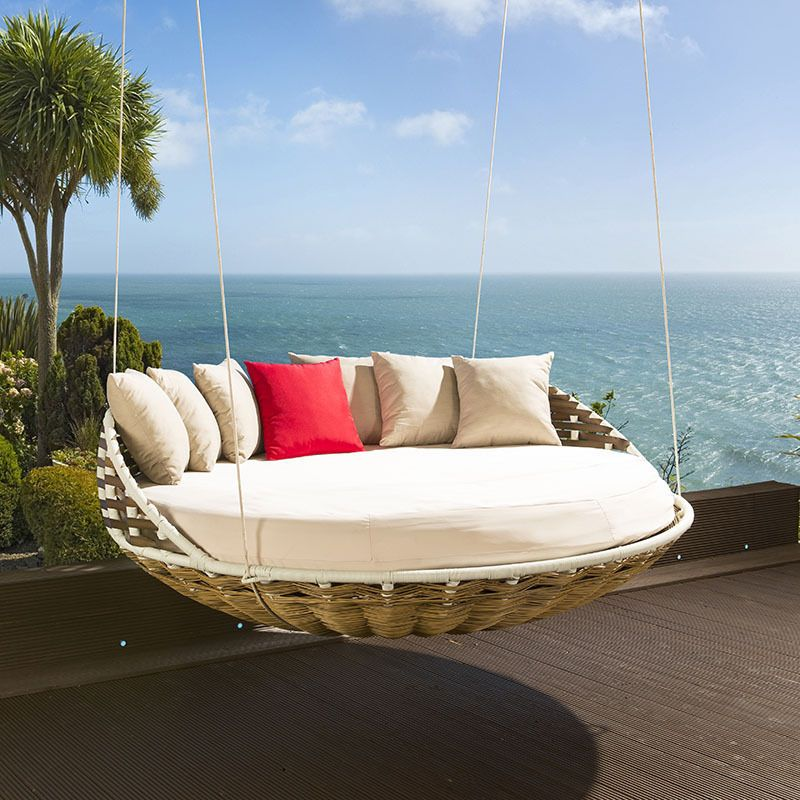 Hanging Round Garden Day Bed Sofa Brown Rattan Cream Cushions Cover Garden Day Bed Hanging Daybed Shabby Chic Furniture