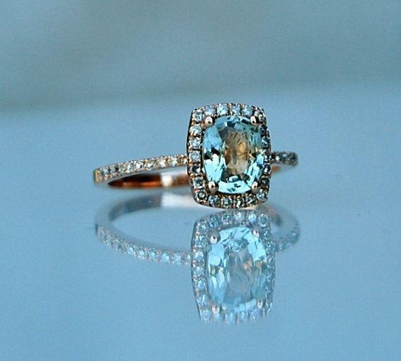 1.17ct Cushion Jasmine green sapphire 14k rose gold diamond ring enagagement ring sapphire ring via Etsy
