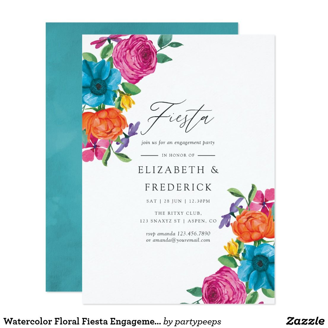 Watercolor Floral Fiesta Engagement Party Invitation
