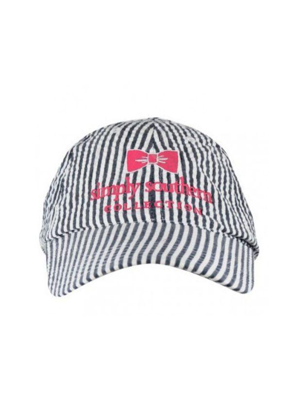 Simply Southern Seersucker Hat - Navy White  b6ee075f77db