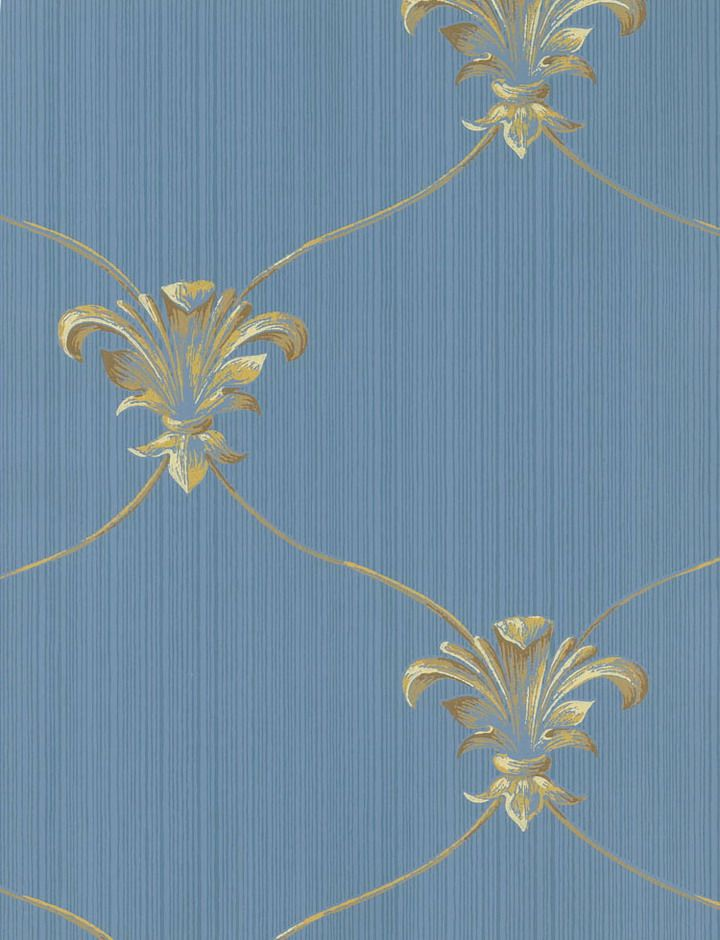 Fleur De Lis Blue Gold Wallpaper