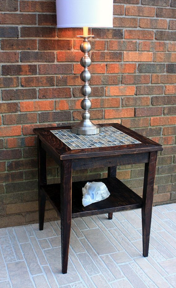 Best Rustic Mosaic Tile End Table Neutral Side Table Rustic 400 x 300