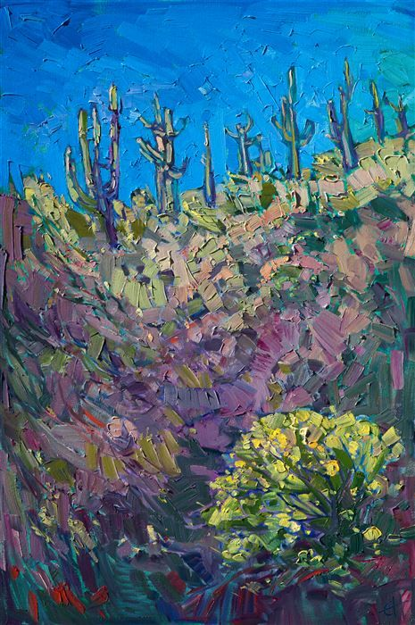 Saguaro Arizona contemporary impressionist oil painting landscape painting by Erin Hanson