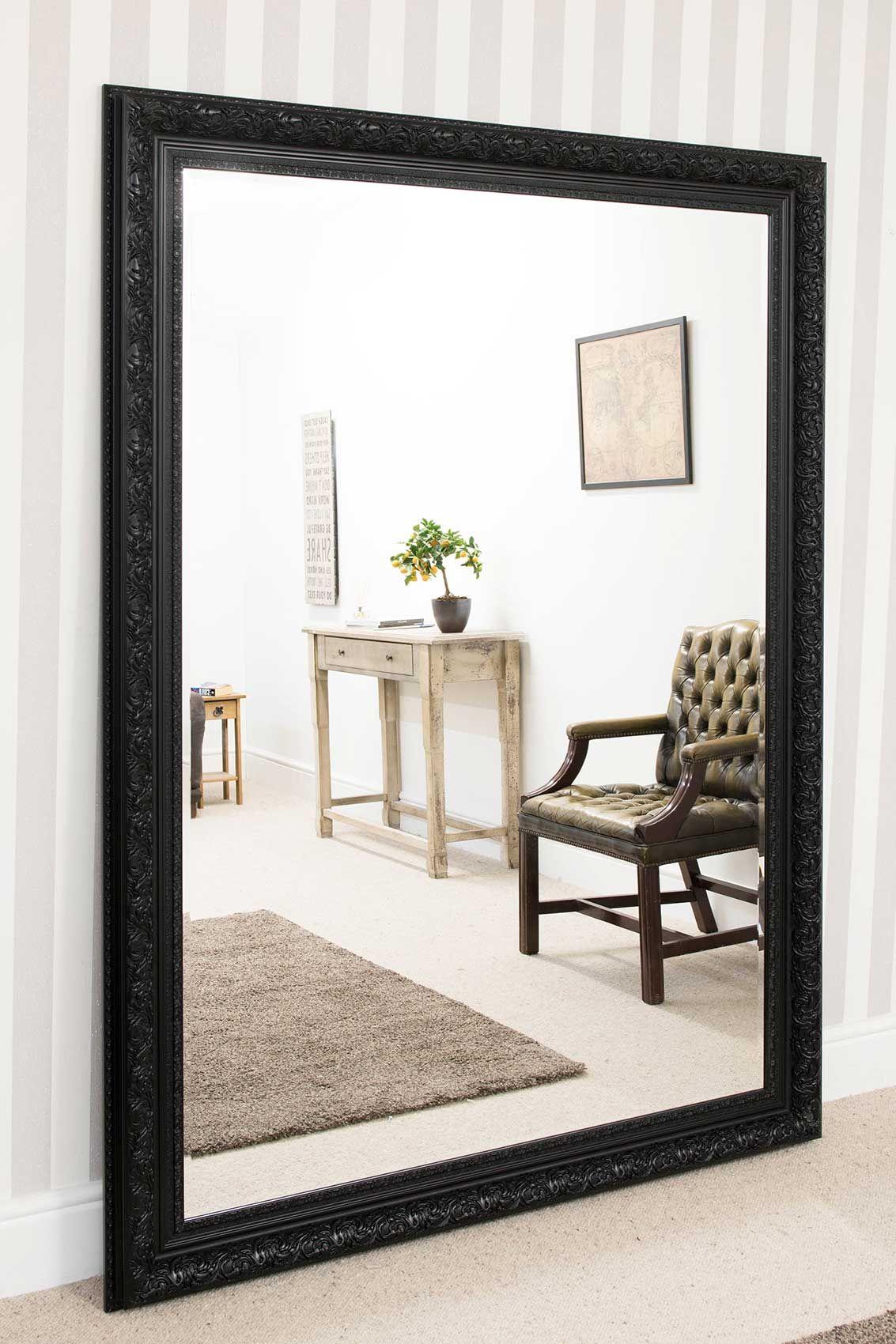 Devonshire Large Black Framed Mirror 215x154cm Black Mirror Frame Large Framed Mirrors Mirror Wall Living Room