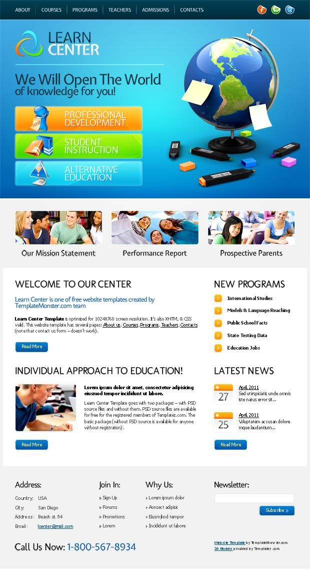 Free Education Website Template For Learn Center