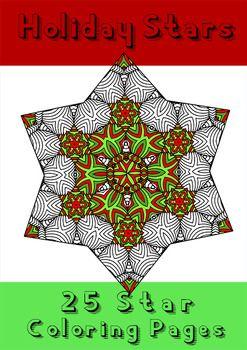 Christmas Holiday Stars Zentangle Mandala Coloring Book Pages Mandala Coloring Books Coloring Book Pages Coloring Books