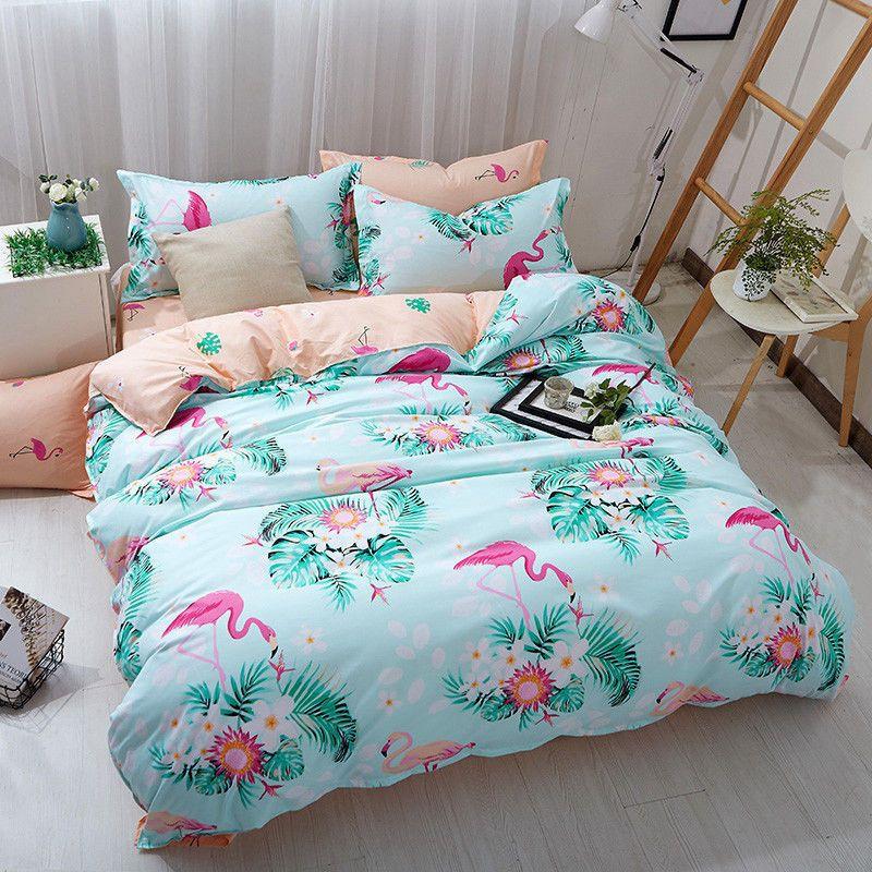Details about Floral Flamingo Quilt Doona Duvet Cover Set