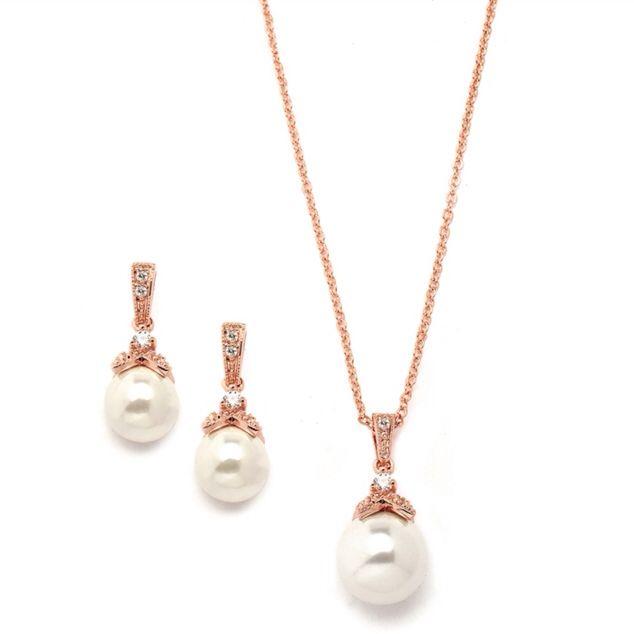 Our most popular set is now available in rose gold! Shop this and much more at WWW.FLETCHERANDGRACE.COM.AU #bridalearrings #rosegoldpearlset #fletcherandgrace #bridetobe #weddingjewellery #timelessdesign #heirloom #elegant