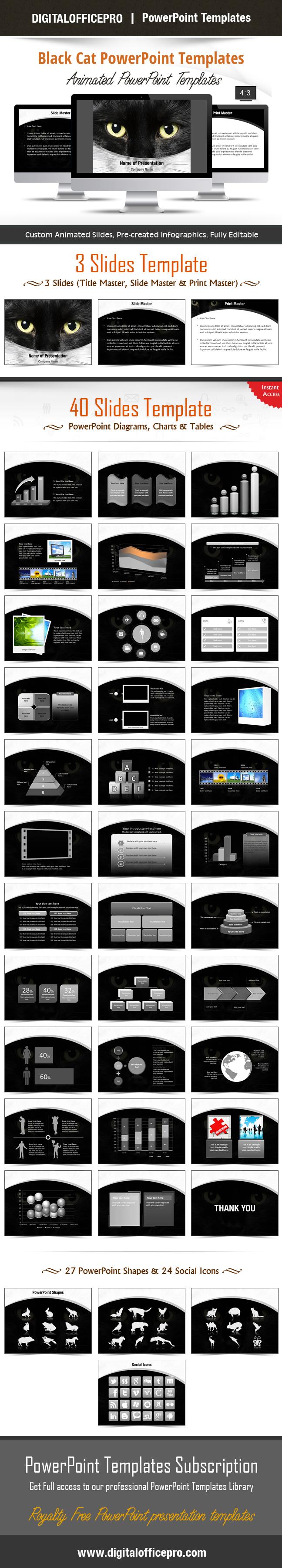 Black cat powerpoint template backgrounds toneelgroepblik Image collections