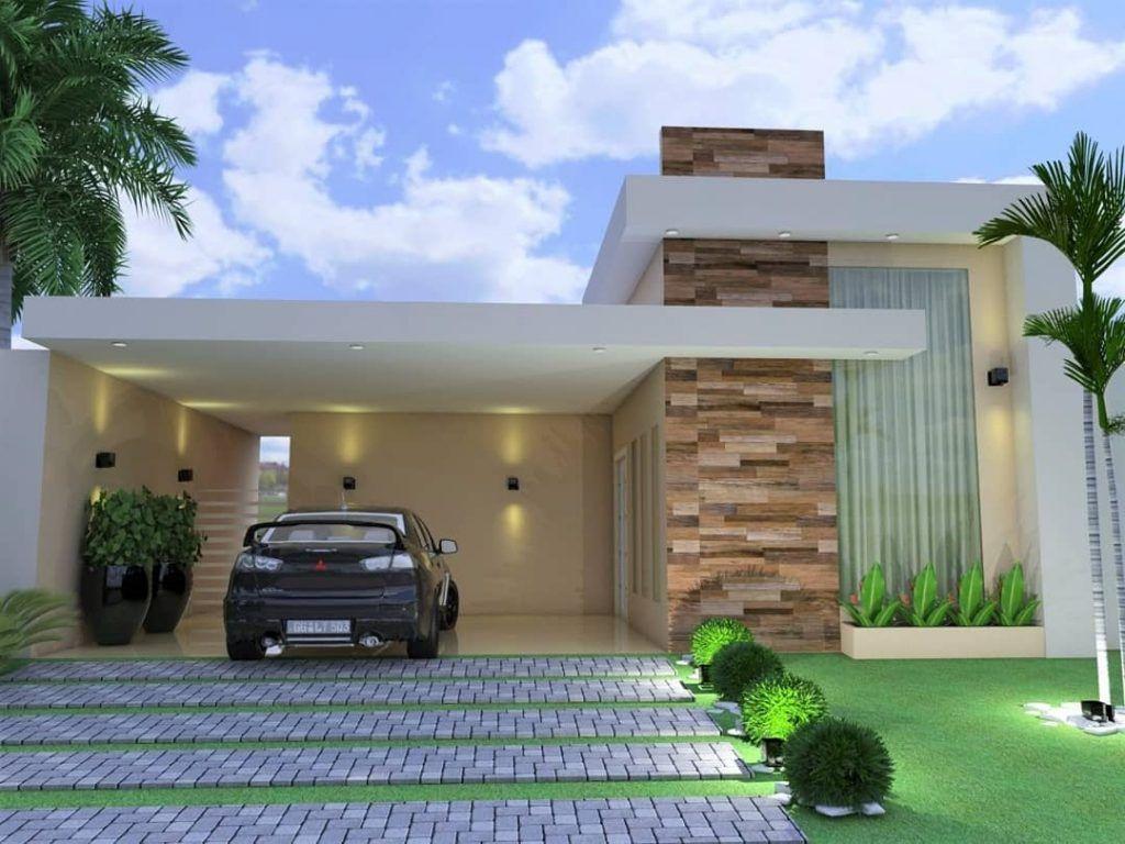 Fachada De Casa Terrea 70 Otimas Ideias En 2020 Fachadas De Casas Modernas Fachadas Casas Minimalistas Casas Modernas Simples