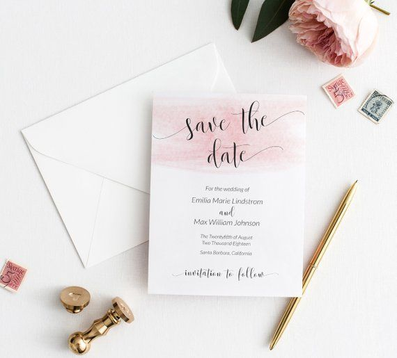 Dainty Watercolor Save The Date Template Customizable