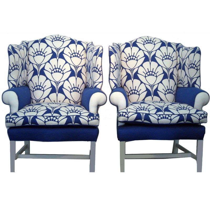Best Oversized Blue White Blossom Chairs A Pair In 2020 With 400 x 300