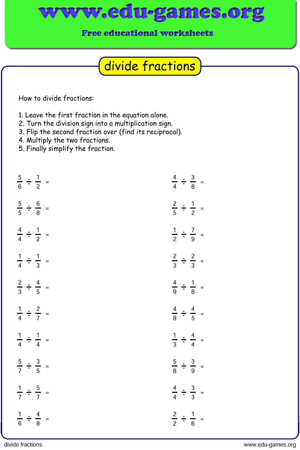 Free Division Fraction Worksheets Unlimited Worksheets Because Every Worksheets Is Generated Fractions Worksheets Math Expressions Math Worksheets