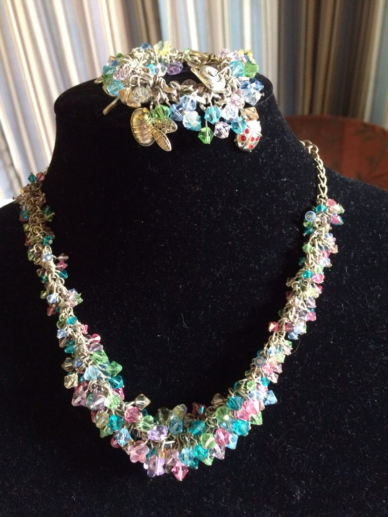 This spring and summer necklace pairs Svarovski and little bugs for a garden party anywhere!