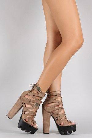 1230faba1e7 Wild Diva Lounge Caged Contrasting Lug Sole Platform Chunky Heel ...