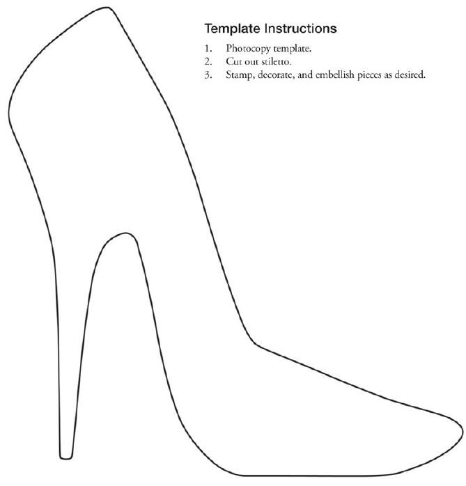 Free printable stiletto shoe template collage for High heel template for cards