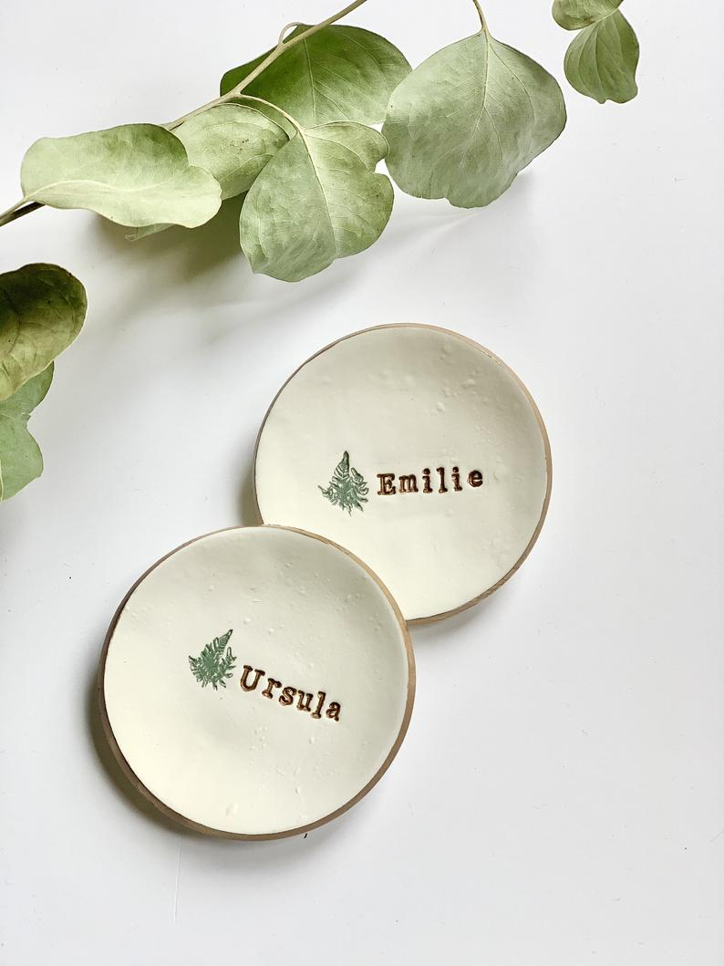 Trinket Tray with Leaves Clay Jewelry Dish Flowers Floral Trinket Tray Dish Ring Holder Dish
