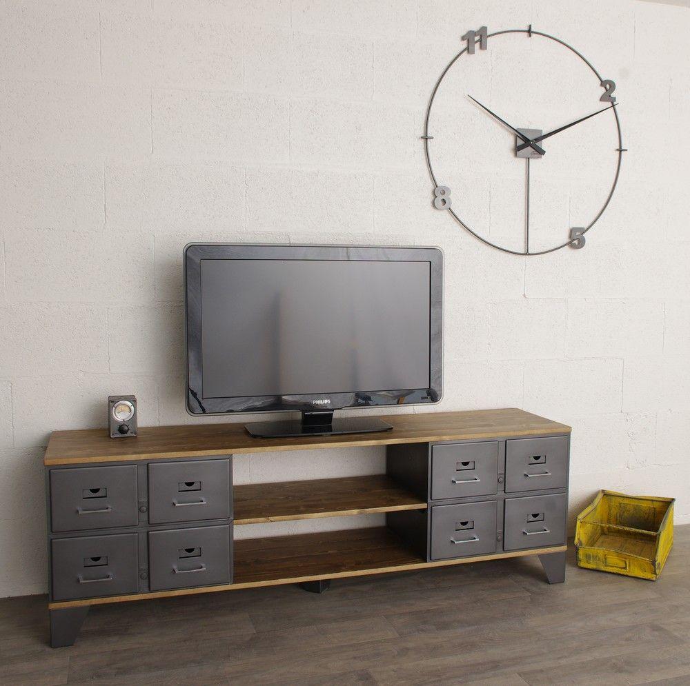 Meuble Tv Industriel Con U Avec Des Tiroirs M Talliques Restaur S  # Exemple De Meuble Avec Vestiaires Metalliques